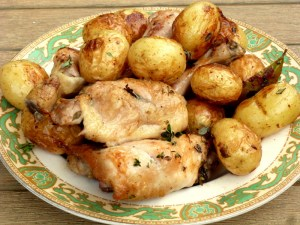 One tray chicken, roast potatoes, low FODMAP