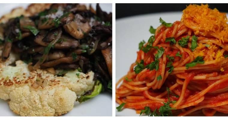 Cauliflower Steak with Sautéed Mushroom and  Pomodoro Spaghetti with Orange