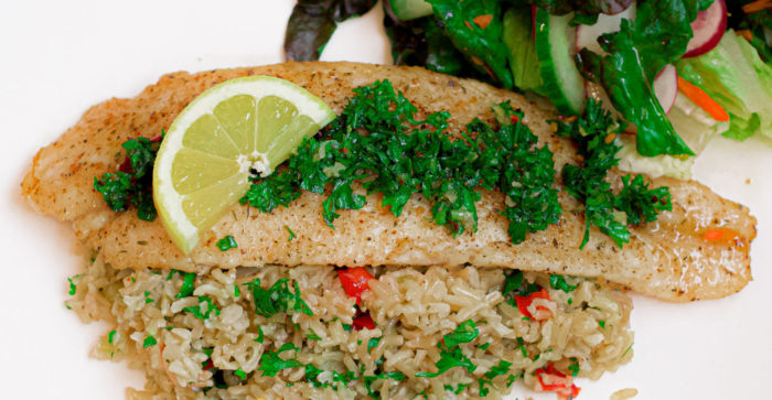 Fried fish fillet with Rice pilaf, Easy and delicious