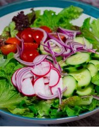 A big bowl of mixed chopped lettuce, sliced red radish, sliced cucumber,Sliced cherry tomatoes and thinly sliced red onion with lemon and ginger vinaigrette on a large blue and white serving bowl.