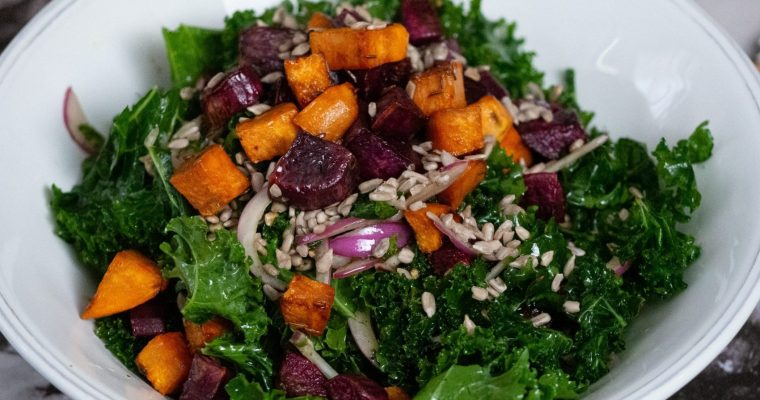 Joy of kale and sweet potato salad with tarragon vinaigrette