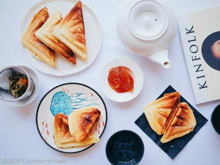 vietnamese hot dog with jam and tea pot