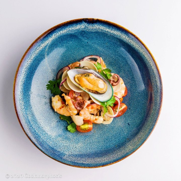 modern thai style seafood ceviche
