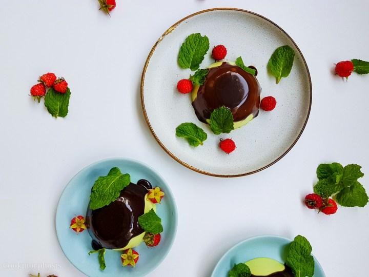 Chocolate pandan panna cotta