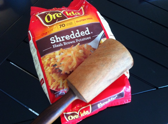 A wooden mallet is good for breaking up frozen hashbrowns.