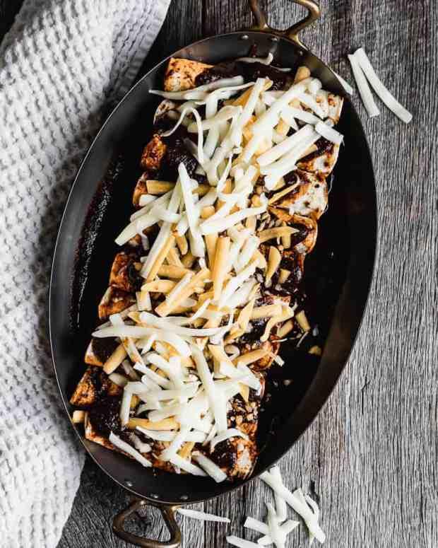 beef enchiladas in baking dish before baking