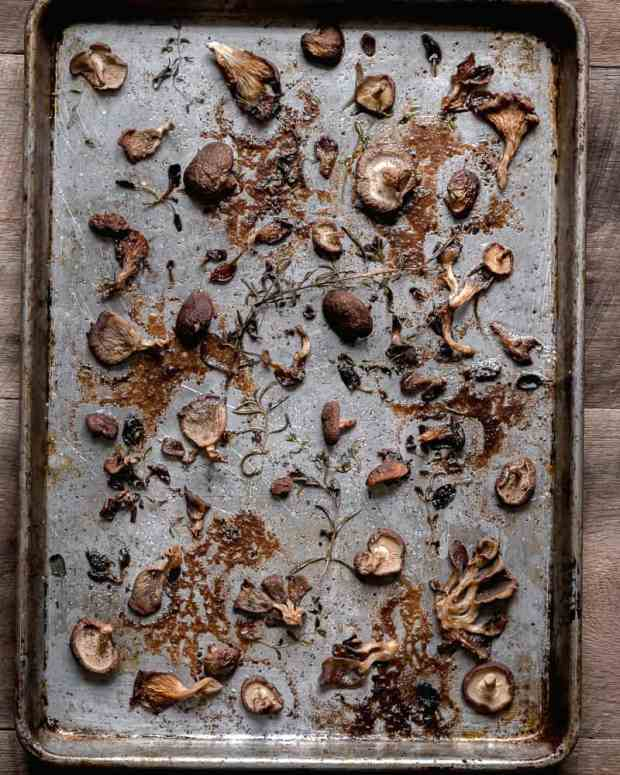 roasted mushrooms on baking tray