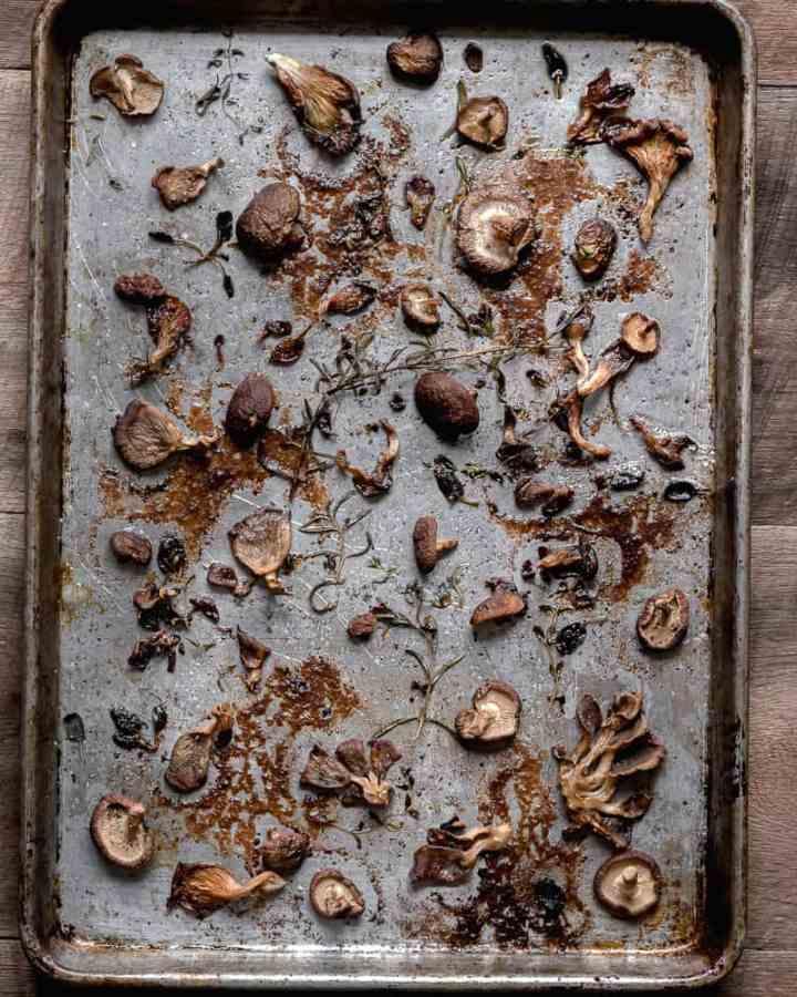 roasted mushrooms on baking tray
