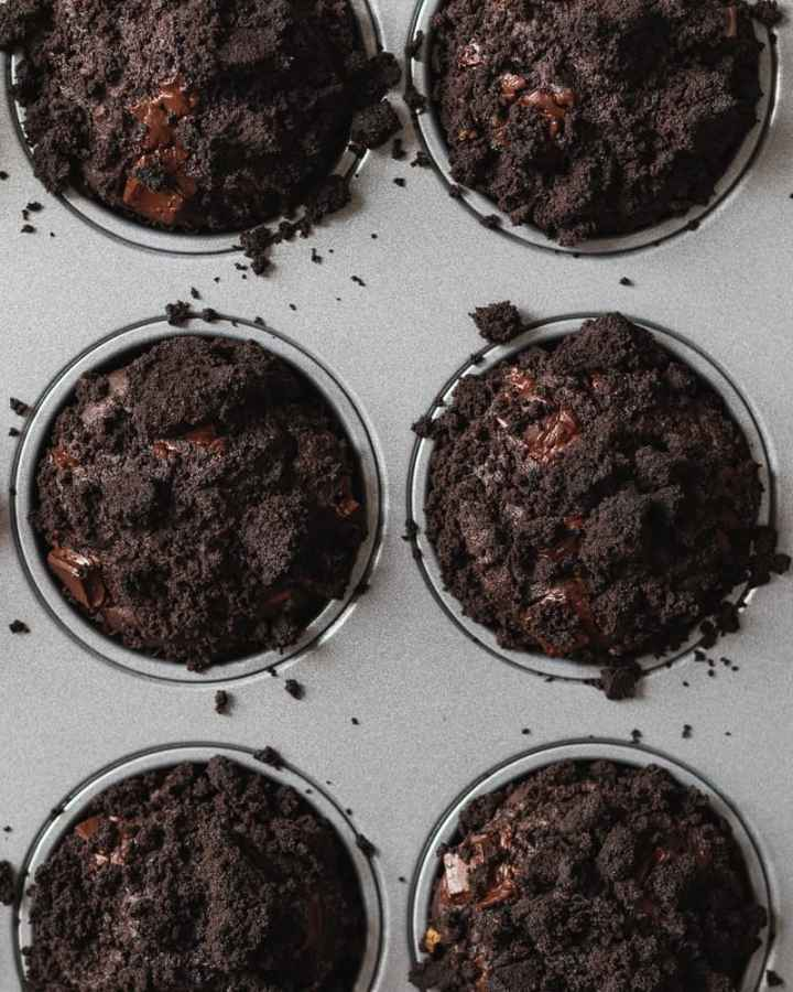 dark chocolate olive oil muffins close up in pan