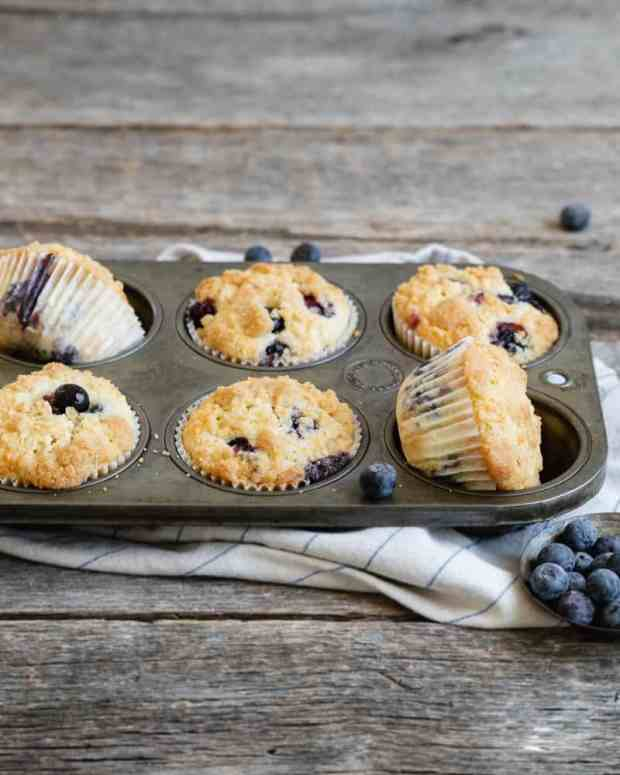 side view of blueberry muffins