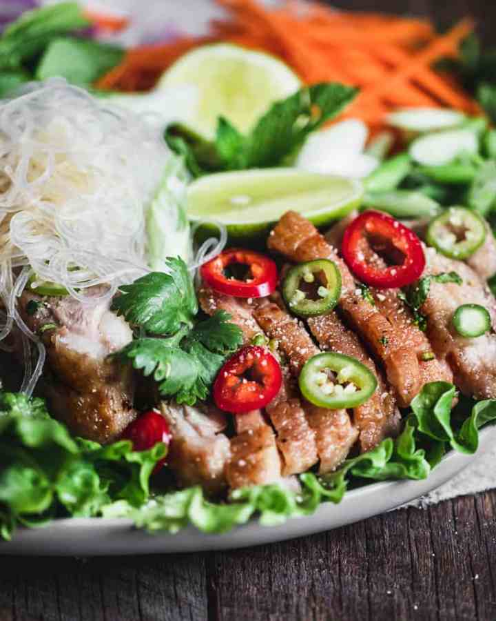 angled close up shot of spicy thai duck salad