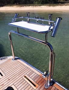 Stainless Tubular Baitboard with Rod and Drink Holders