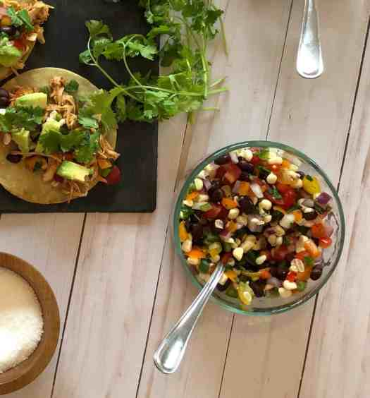 corn and black bean salsa chicken tacos