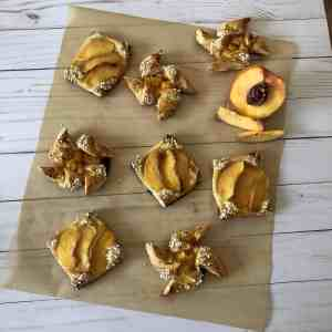 Pinwheel and square peach and lemon curd tartlets