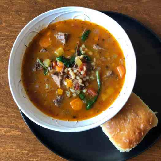 Beef Barley Soup with Milk Bread Roll