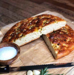 Sliced Cast Iron Focaccia Bread