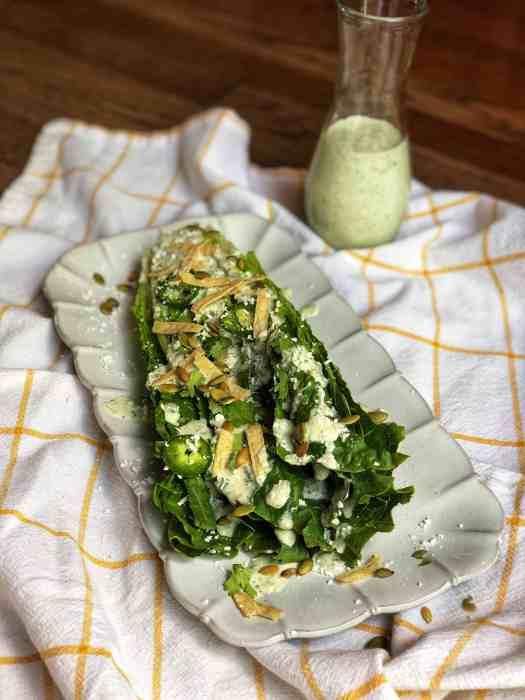 Mexican Caesar Salad with Cilantro-Pepita Dressing