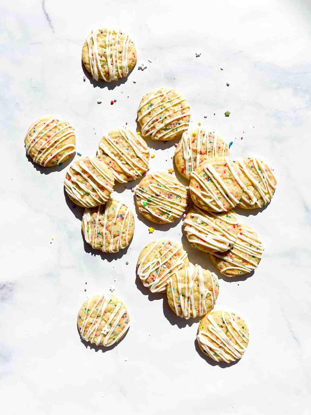 Birthday Cake Cookies with Vanilla Drizzle