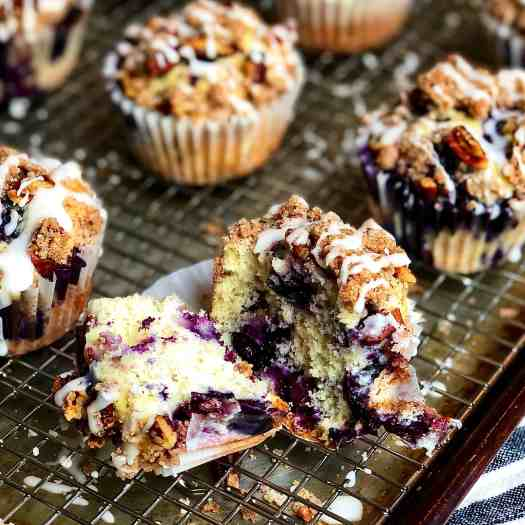 Interior view of Blueberry Pecan Streusel Muffins