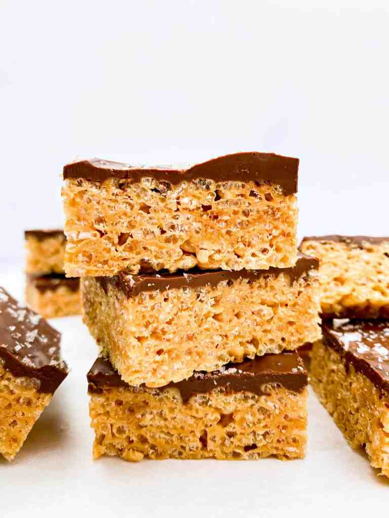 A stack of three Peanut Butter Chocolate Rice Krispie Treats.