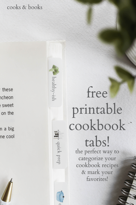 Cookbook index tabs