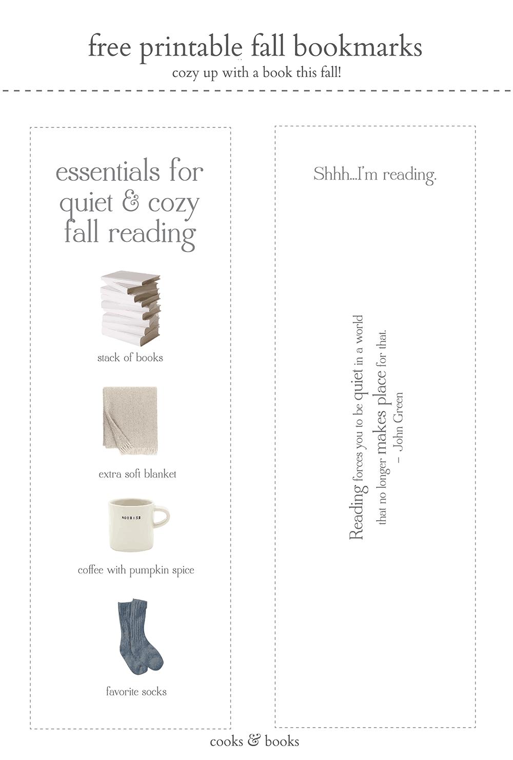 free printable fall bookmarks