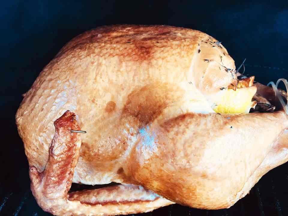Smoked Maple Bourbon Brined Turkey