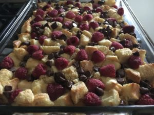 Raspberry dark chocolate bread pudding warm vanilla custard