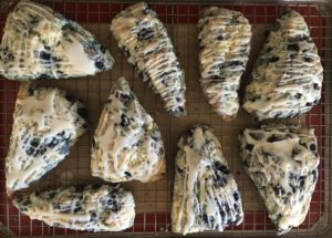 Wild blueberry and lavender scones baked iced