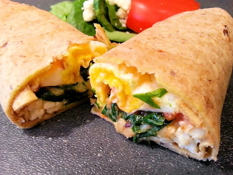 egg and spinach in a tortilla wrap bulking-up breakfast recipe