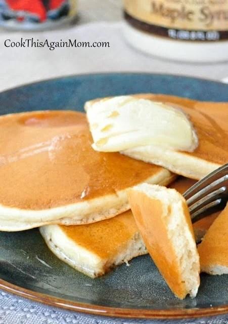 Basic Pancakes on a blue plate