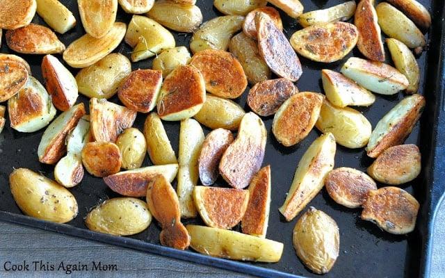 Rosemary Roasted Potatoes on a baking sheet.