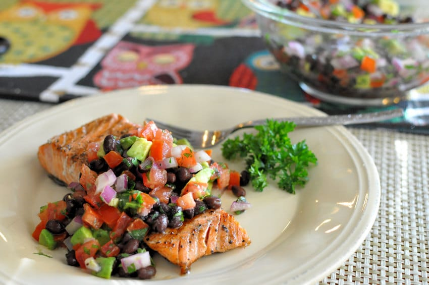 Grilled Salmon with Black Bean Salsa