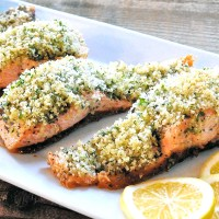 Simple Panko Crusted Pesto Salmon