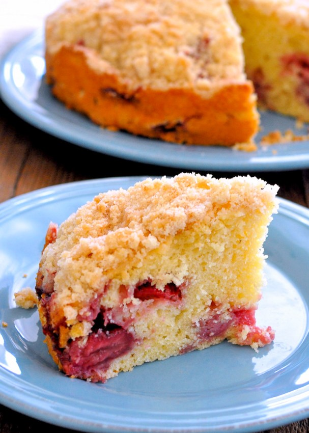 a slice of strawberry coffee cake make with fresh strawberries