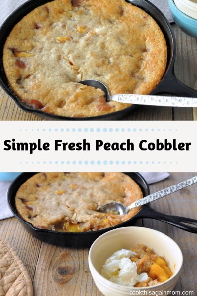 An easy and delicious peach cobbler using fresh peaches. Best when served warm with vanilla ice cream or frozen yogurt.