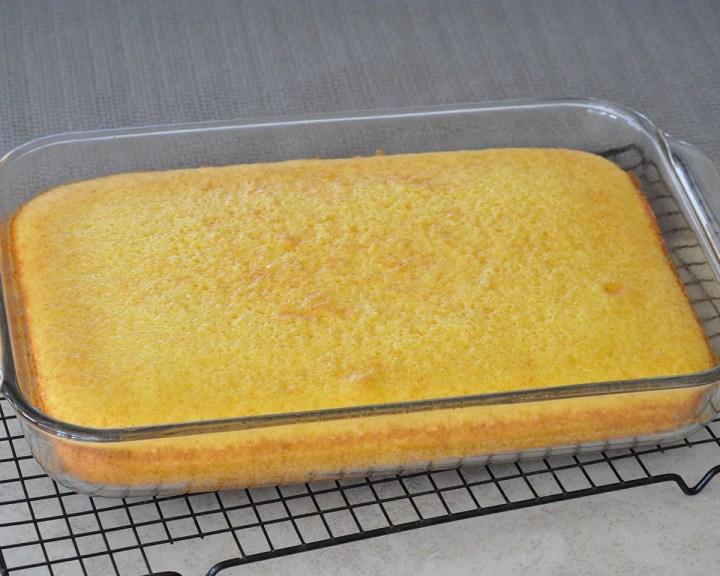lemonade cake in a 13 x 9 baking dish