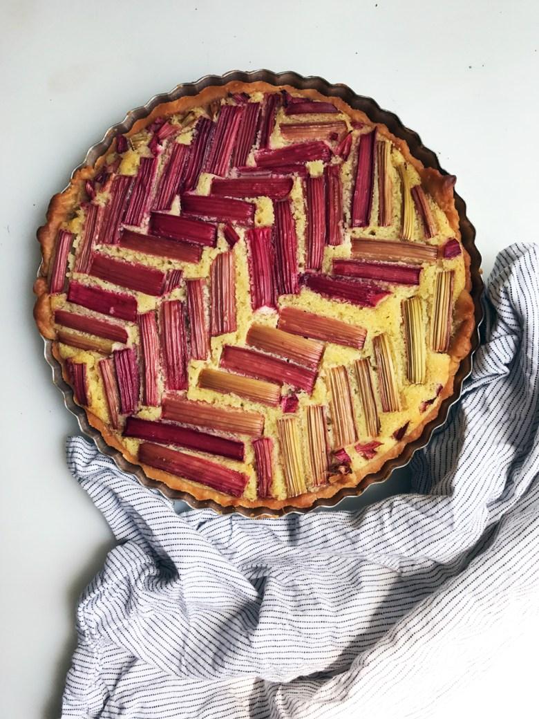 rhubarb frangipane tart after bake