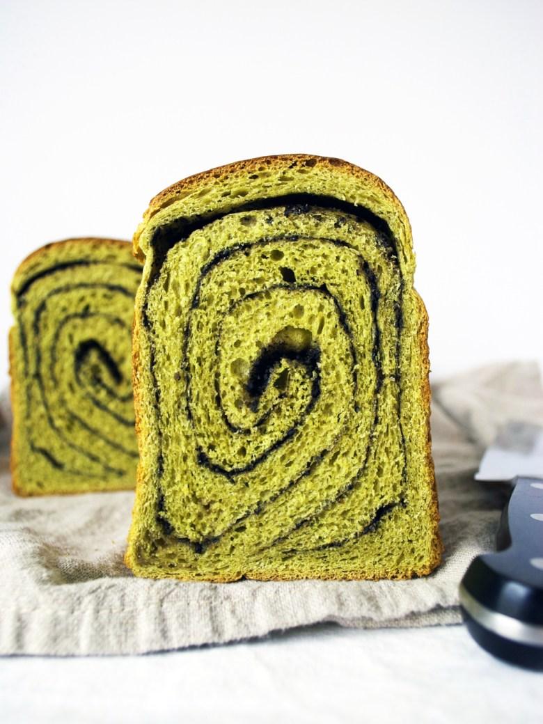 matcha black sesame swirl bread