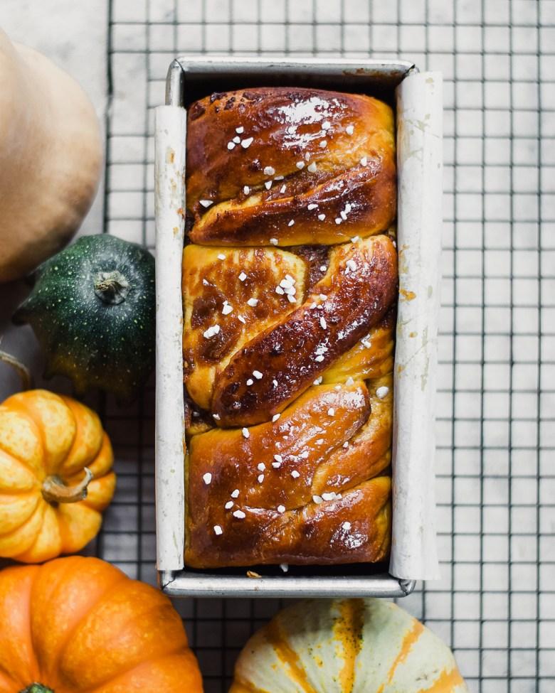 double pumpkin sourdough milk bread with gourds