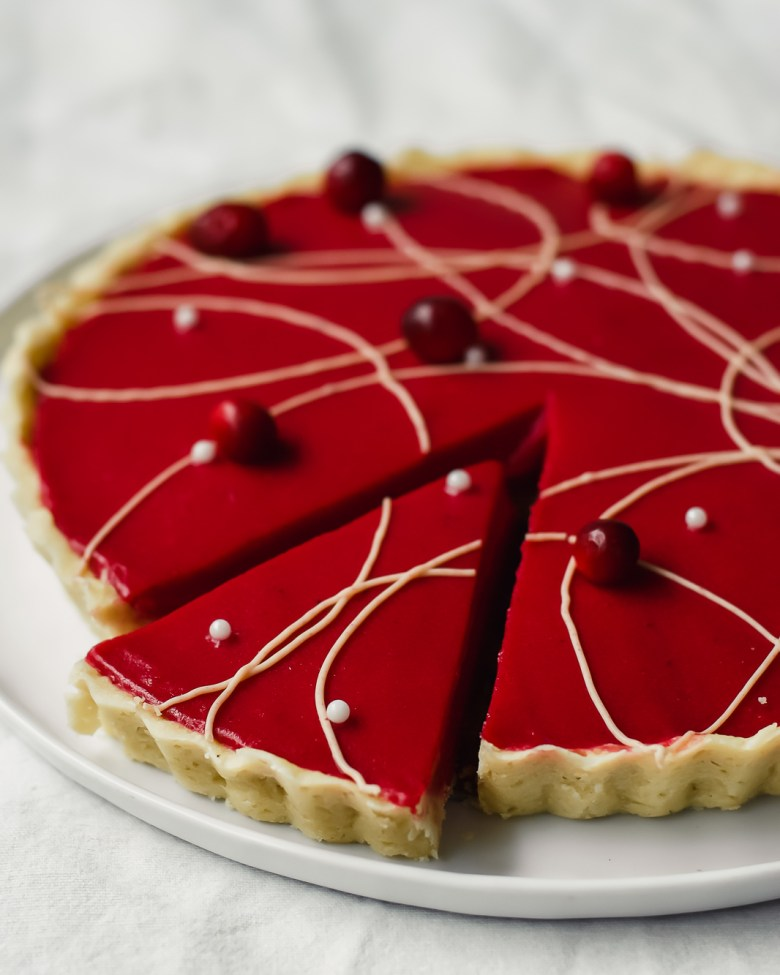 cranberry lime shortbread tart from side