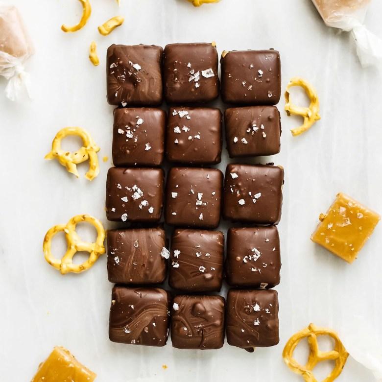 pretzel salted caramels lined up