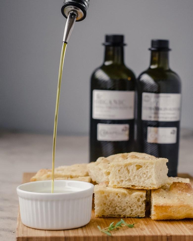 focaccia olive oil pour