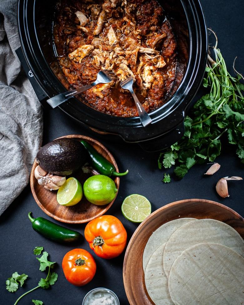 slow cooker chicken tacos unassembled