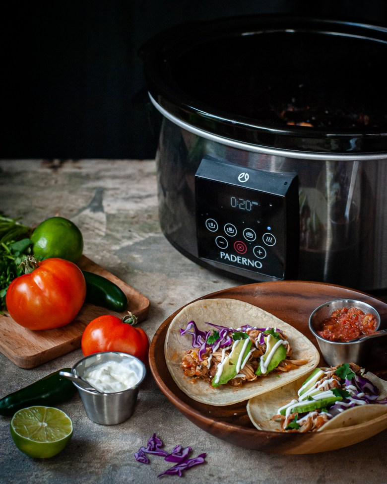 slow cooker chicken tacos assembled