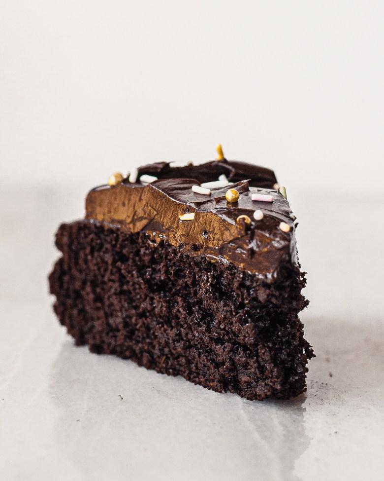 sourdough chocolate cake slice