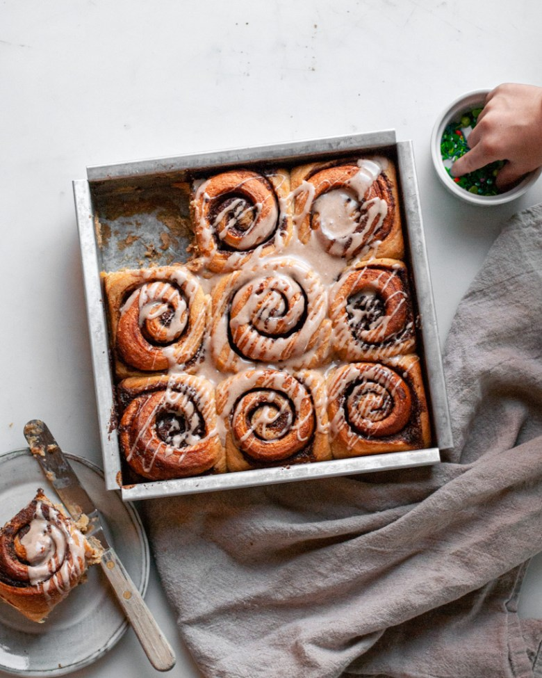 spiced eggnog sourdough cinnamon rolls