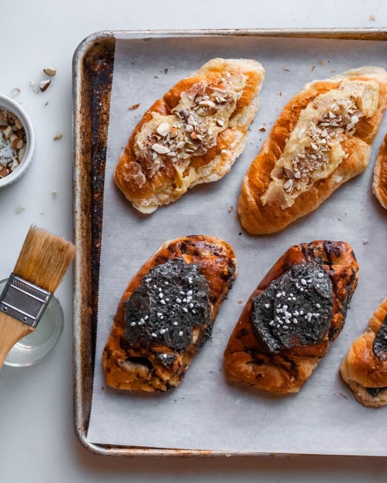assembling twice baked croissants