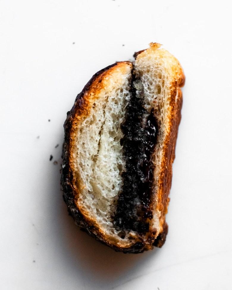 black sesame croissant cross section