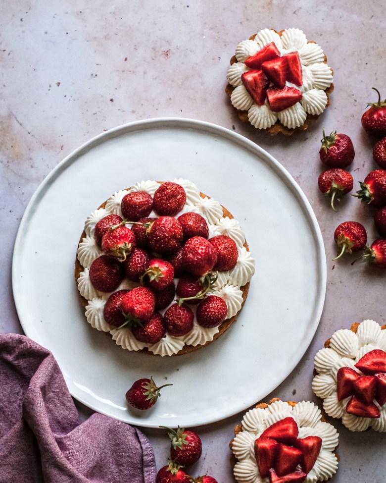 large and small strawberry sable breton tarts